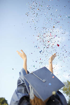 Graduate Tossing Confetti Seen Poster by Gillham Studios