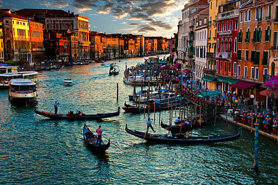 Grand Canal Sunset Poster by Harry Spitz