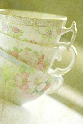 Grandma's Teacups Poster by Bonnie Bruno