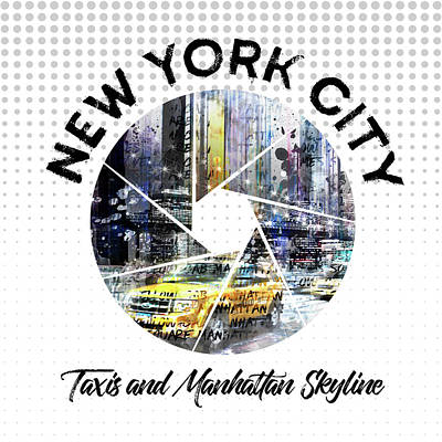 Graphic Art New York City Taxis And Manhattan Skyline Poster by Melanie Viola