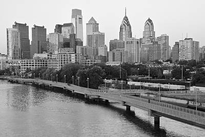 Grayscale Philly Skyline Poster by Frozen in Time Fine Art Photography