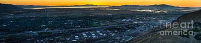 Great Salt Lake Sunset Ensign Peak Poster by Gary Whitton