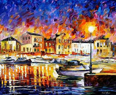 Greece 2 - Palette Knife Oil Painting On Canvas By Leonid Afremov Poster by Leonid Afremov