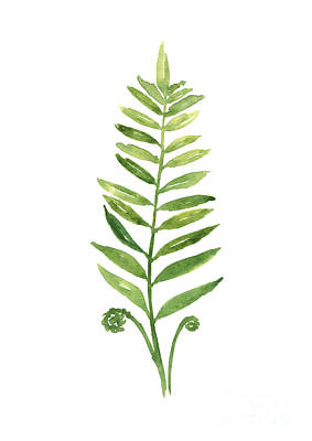 Green Fern Watercolor Art Print Painting Poster by Joanna Szmerdt