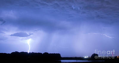 Green Lightning Bolt Ball And Blue Lightning Sky Poster by James BO  Insogna