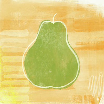 Green Pear 2- Art By Linda Woods Poster by Linda Woods