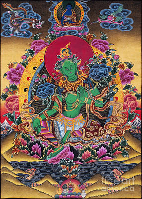 Green Tara Thangka Poster by Tim Gainey