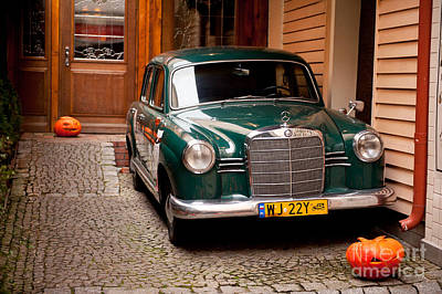 Green Vintage Mercedes Benz Car Poster by Arletta Cwalina