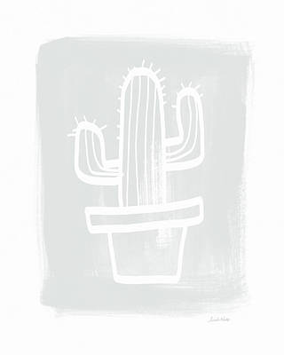 Grey And White Cactus- Art By Linda Woods Poster by Linda Woods