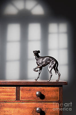 Greyhound Figure In Bronze Poster by Amanda Elwell
