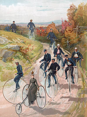 Group Riding Penny Farthing Bicycles Poster by American School