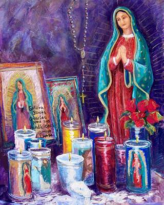 Guadalupe Y Las Velas Candles Poster by Candy Mayer