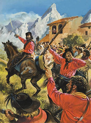Guiseppe Garibaldi And His Army In The Battle With The Neopolitan Royal Troops Poster by Andrew Howat