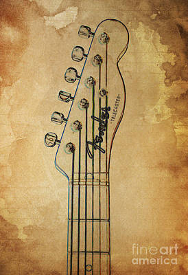 Guitar Headstock Brown Vintage Poster by Pablo Franchi