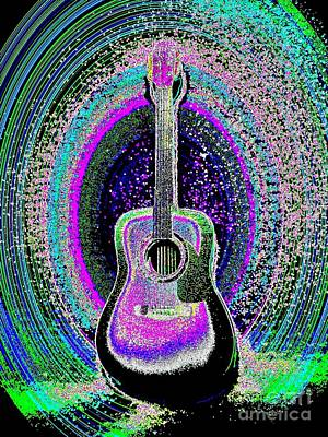 Guitar On The Stage Poster by Jasna Gopic