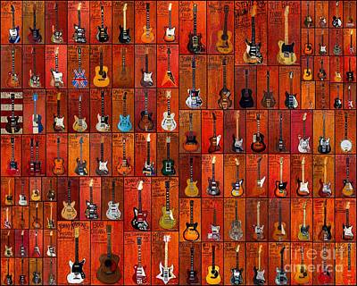 Guitar Painting Collage Poster by Karl Haglund