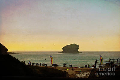 Gull Rock Portreath Cornwall, Textured Poster by Terri Waters