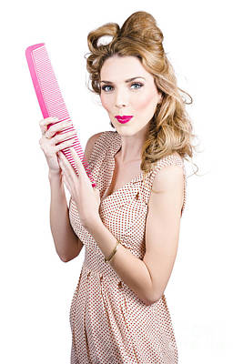 Hair Style Model. Pinup Girl With Large Pink Comb Poster by Jorgo Photography - Wall Art Gallery