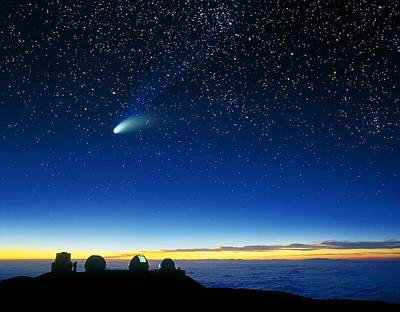 Hale-bopp Comet And Telescope Domes Poster by David Nunuk