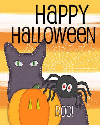 Halloween Friends- Art By Linda Woods Poster by Linda Woods