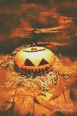 Halloween In Fall. Still Life Pumpkin Head Poster by Jorgo Photography - Wall Art Gallery