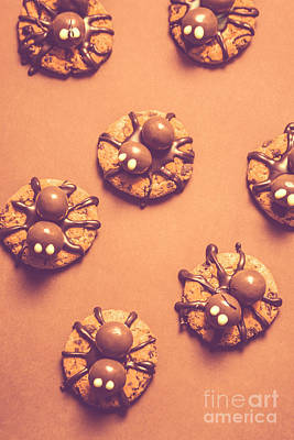 Halloween Spider Cookies On Brown Background Poster by Jorgo Photography - Wall Art Gallery