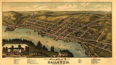 Hallowell Maine 1878 Poster by Mountain Dreams