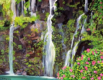 Hana Waterfall In Maui Poster by Teresa Dominici