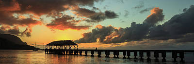 Hanalei Pier Sunset Panorama Poster by James Eddy