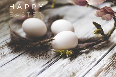 Happy Easter Card With Eggs And Magnolia On The Wooden Background Poster by Aldona Pivoriene