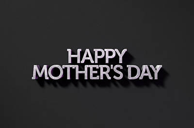 Happy Mothers Day Text On Black Poster by Allan Swart