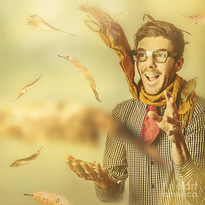 Happy Nerd Celebrating The Fall Of Autumn Poster by Jorgo Photography - Wall Art Gallery