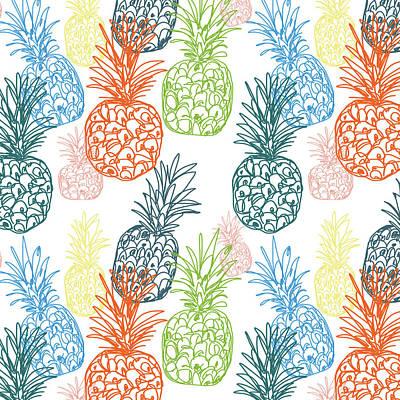 Happy Pineapple- Art By Linda Woods Poster by Linda Woods