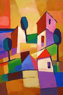 Happy Village Poster by Lutz Baar