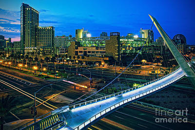 Harbor Drive Pedestrian Bridge And Petco Park At Night Poster by Sam Antonio Photography