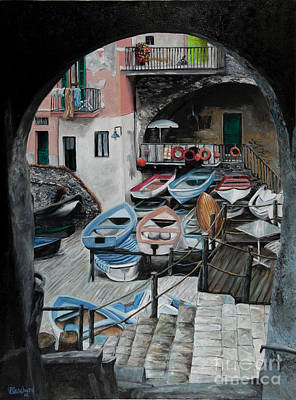 Harbor's Edge In Riomaggiore Poster by Charlotte Blanchard