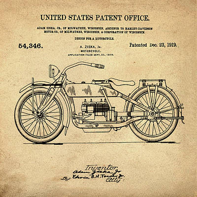 Harley Davidson Motorcycle Patent 1919 In Sepia Poster by Bill Cannon