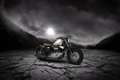 Harley Davidson Sportster Forty Eight 2013 Mountains Poster by Aged Pixel