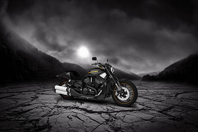 Harley Davidson V-rod 2013  Mountains Poster by Aged Pixel