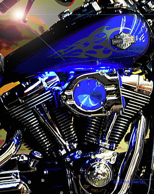 Harleys Twins Poster by DigiArt Diaries by Vicky B Fuller