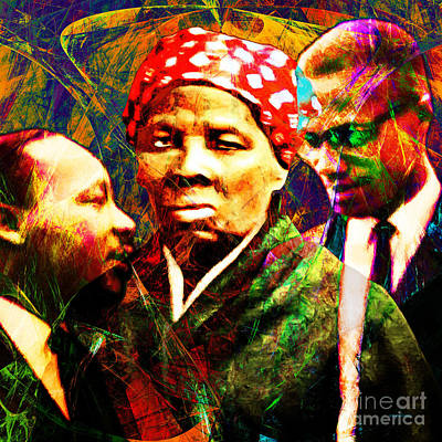 Harriet Tubman Martin Luther King Jr Malcolm X 20160421 Square Poster by Wingsdomain Art and Photography