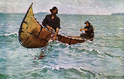 Hauling In The Gill Net Poster by Frederick Remington