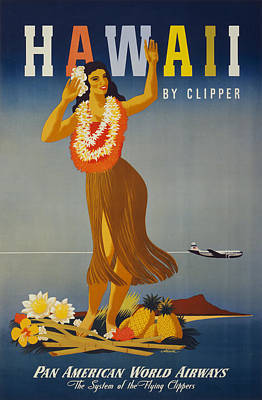 Hawaii By Clipper Poster by Georgia Fowler