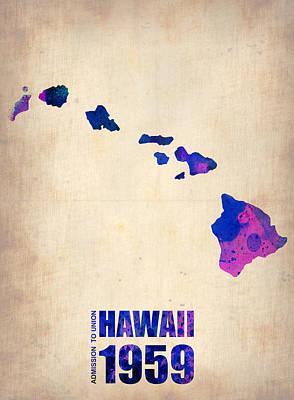 Hawaii Watercolor Map Poster by Naxart Studio