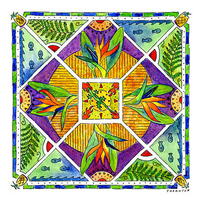 Hawaiian Mandala II - Bird Of Paradise Poster by Diane Thornton