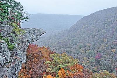 Hawksbill Crag Misty Morning Poster by JC Findley