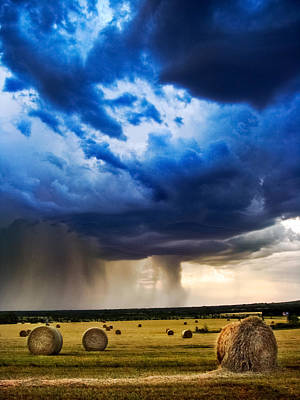Hay In The Storm Poster by Eric Benjamin