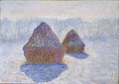 Haystacks - Effect Of Snow And Sun Poster by Claude Monet