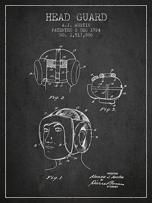Head Guard Patent From 1924 - Charcoal Poster by Aged Pixel