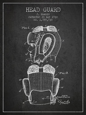 Head Guard Patent From 1930 - Charcoal Poster by Aged Pixel